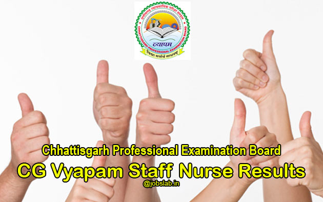 CG Vyapam Staff Nurse Result 2016 - HSSN Merit List & Cut Off Available