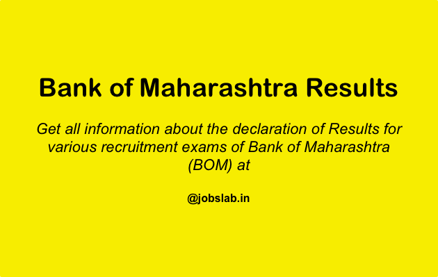 Bank of Maharashtra Results - Check BOM Result of Competitive Exams